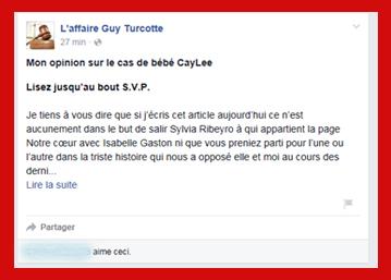 Line Lafleur contre bébé CayLiee